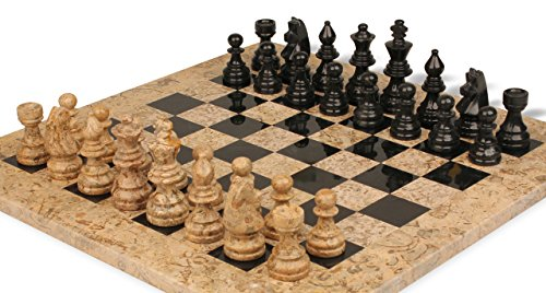 Black marble coral stone staunton chess set with 16 board desertcart - Granite chess pieces ...