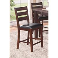 High Chair w/Black Faux Leather in Antique Walnut by Poundex (Set of 2)