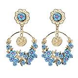 MUZHE Korean Fashion Geometric Long Asymmetry Earring Rhinestone Circle Ear Stud New Acrylic Big Earrings (Blue)
