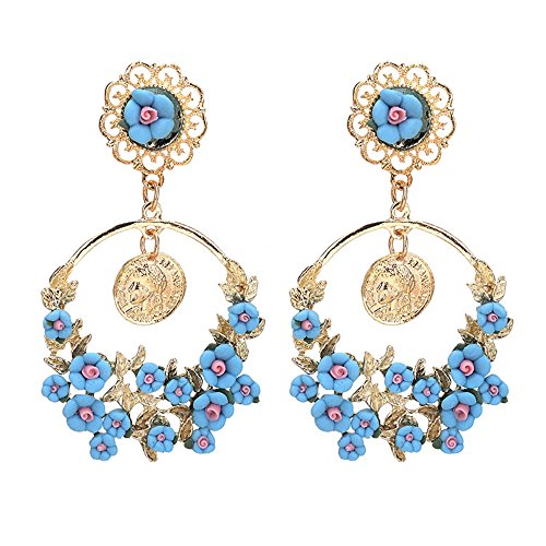 MUZHE Korean Fashion Geometric Long Asymmetry Earring Rhinestone Circle Ear Stud New Acrylic Big Earrings (Blue) -