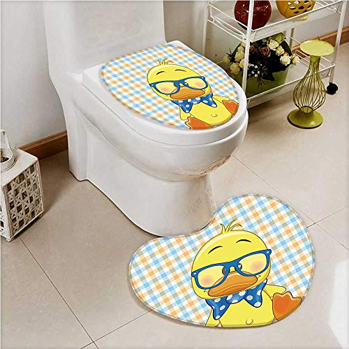 Non Slip Bath Shower Heart shaped foot pad Hipster Boho Baby Duck with Dotted Bow Free Spirit Smart Geese 2 Pieces Microfiber Soft (Feet Baby Dotted)