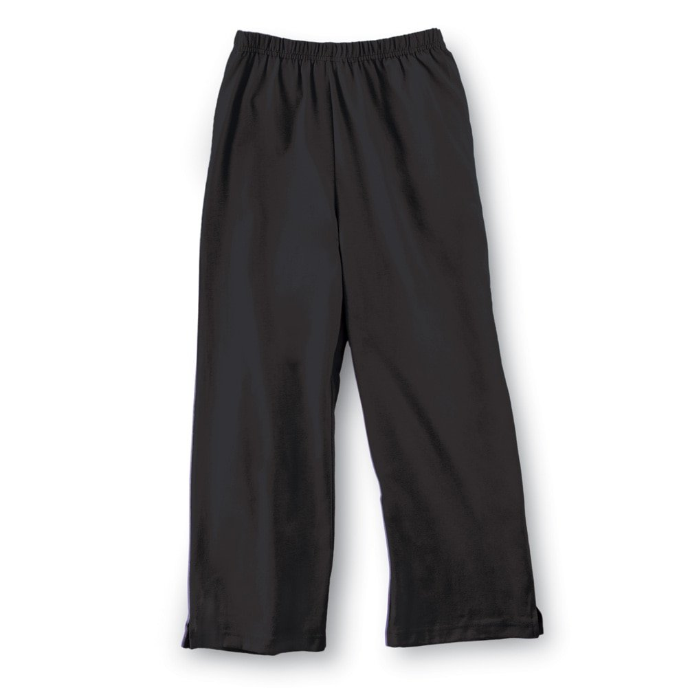 Women's Elastic Waist Comfortable Cropped Capri Pants, Black, X-Large