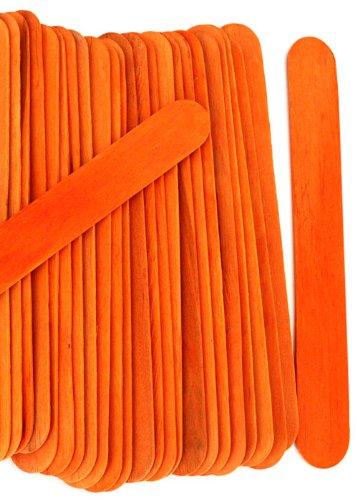 100 Wood Jumbo Craft Sticks Orange Color