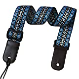 Jacquard Weave Hootenanny Style Electric Guitar Strap Acoustic Strap Bass Strap Ukulele Strap with Tie, Leather Ends C8