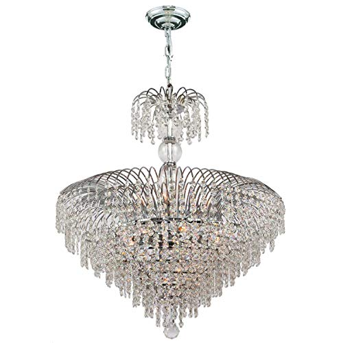 Worldwide Lighting W83031C24 Empire 14 Light with Clear Crystal Chandelier, Chrome Finish, 24