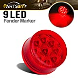 91 ranger rear cab light - Partsam Round 9 LEDs Truck Trailer Side Marker Clearance Light Rear Tail Light Red Qty 1