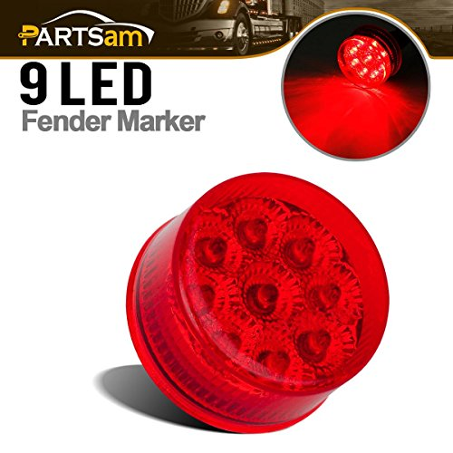 Partsam Round 9 LEDs Truck Trailer Side Marker Clearance Light Rear Tail Light Red Qty 1