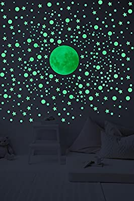Glow In The Dark Wall Decals –Set Of 328 3D Stars, Planets And Bonus Moon. Kids Room Self Adhesive Wall Stickers.