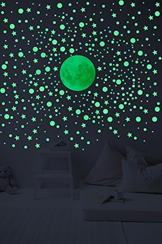 Glow In The Dark Wall Decals –Set Of 328 3D Stars, Planets And Bonus Moon. Kids Room Self Adhesive Wall Stickers. -