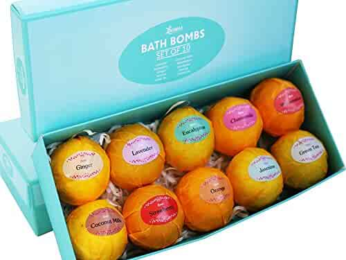 Bath Bombs Gift Set – 10 Unique Scents – Best Gift Set Ideas for Women, Mom, Girls, Teens, Her – Christmas – Birthday – Spa Aromatherapy – Shea Butter – Relaxation in a Box