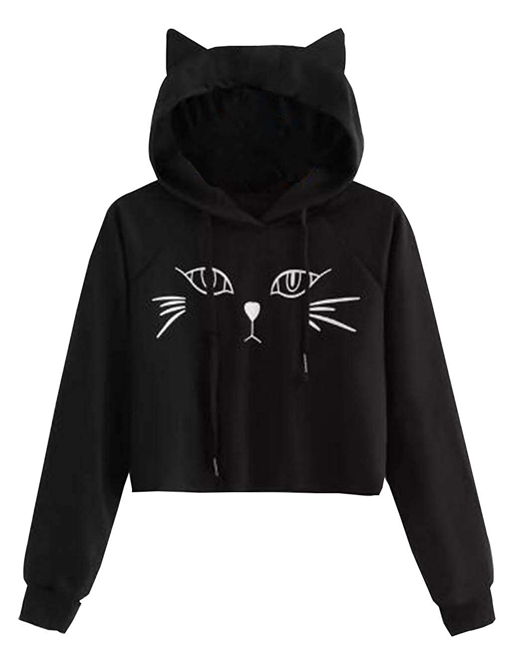 d19f2dd995 Amazon.com  Cute Sweatshirts for Teen Girls Cat Ear Print Jacket Crop Top  Cropped Hoodie Pullover Jumper Sweater Tops  Clothing