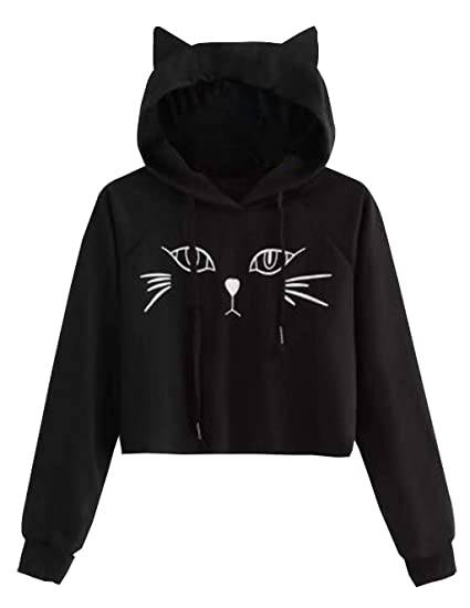 ba314594d0d66d Cute Sweatshirts for Teen Girls Cat Ear Print Jacket Crop Top Cropped Hoodie  Pullover Jumper Sweater