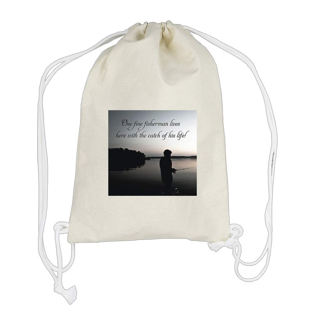 One Fine With Catch Of His Life Cotton Canvas Backpack Drawstring Bag Sack