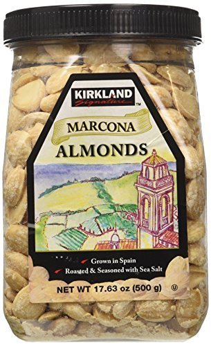 Kirkland Marcona Almonds, Roasted and Seasoned with Sea Salt, 17.63 Ounce (Pack of 6)