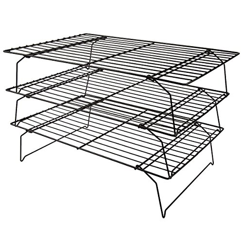 Mokpi 3-Tier Stackable Non-Stick Cooling Rack for Cookie, 16x10 Inch, Stainless Steel Thick Wire Heavy Duty Commercial Quality Wire Rack (16x10)
