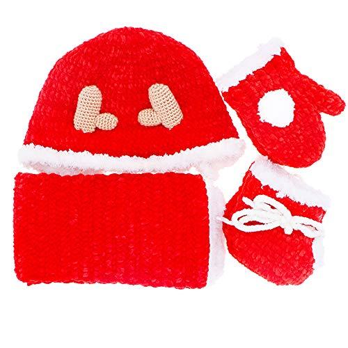 e Christmas Gift Set Elk Knit Warm Hat/Scarf/Gloves/Socks/Cloak (Cloak/Gloves/Socks, 6-12month) ()