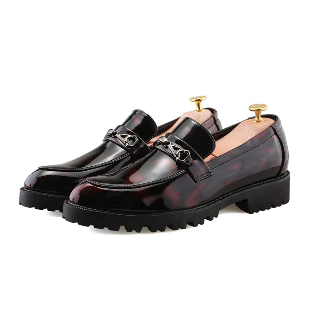 Für Herren die neue Mode 2018, Herren Für Business Oxford Casual Fashion Runde Kopf Dicke Lackleder Formelle Schuhe Rot df16e9