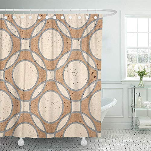 Emvency Shower Curtain Set Waterproof Adjustable Polyester Fabric Clay Floor Tiles Porcelain Ceramic Geometric Pattern for and Marble Mosaic Wall 72 x 78 inches Set with Hooks for Bathroom