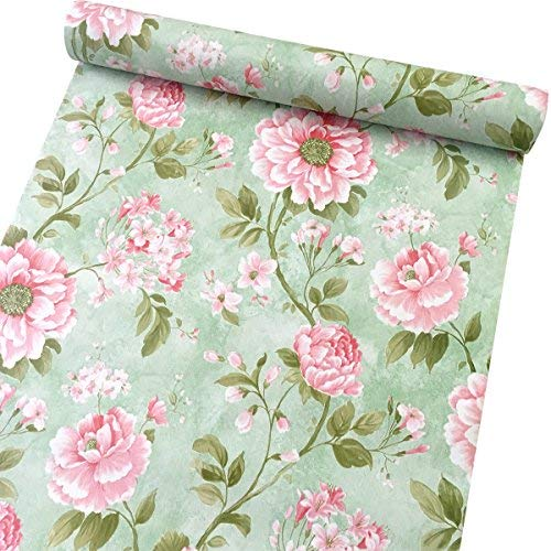 SimpleLife4U Vintage Flower Contact Paper Self-Adhesive Shelf Liner Makeup Jewelry Cabinet Decor 17.7 Inch By 9.8 Feet