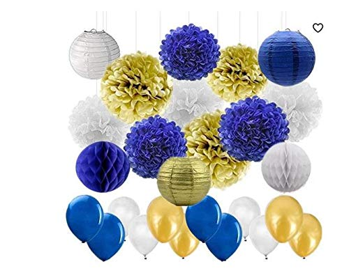 44pcs/Set White Royal Blue Gold Tissue Paper Pom Poms Paper Lanterns Paper Honeycomb Balls and Latex Balloon Wedding Baby Shower Birthday Party Decoration ()