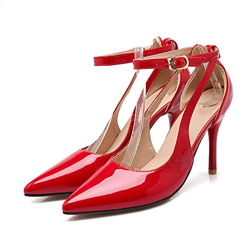 AllhqFashion Womens Buckle Patent Leather Pointed Closed Toe Spikes Stilettos Pumps-Shoes Red 0tVwPj