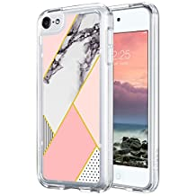 iPod Touch 6 Case,ULAK [CLEAR SLIM] Flexible Soft TPU Bumper PC Back Hybrid Shock Absorption Case with Fabulous Glossy Pattern for iPod Touch 6/iPod Touch 5 - Retail Packaging-Pink Marble