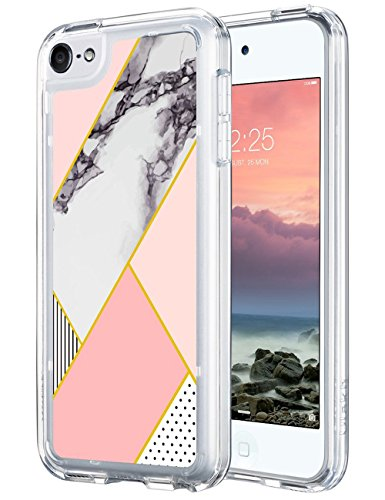ULAK iPod Touch 6 Case,iPod 6 Case Marble,iPod Touch 6 Clear Case Slim Anti-Scratch Flexible Soft TPU Bumper PC Back Hybrid Shockproof Protective Case for Apple iPod Touch 5/6th, Pink - Ipod 5th Case Touch Clear