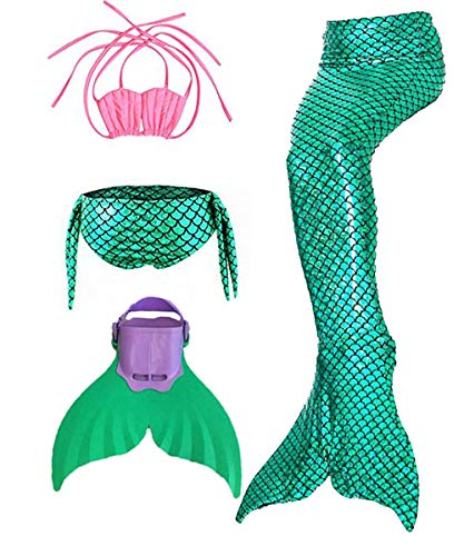 Kids Girls Sparkle Mermaid Tail with Monofin Swimmable Swimwear (120 (5-8Y), Green)]()