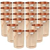 Set of 20 - Prisha India Craft ® Pure Copper Glass Cup for Water - Handmade Water Glasses - Traveller's Copper Mug for Ayurveda Benefits - CHRISTMAS GIFT ITEM