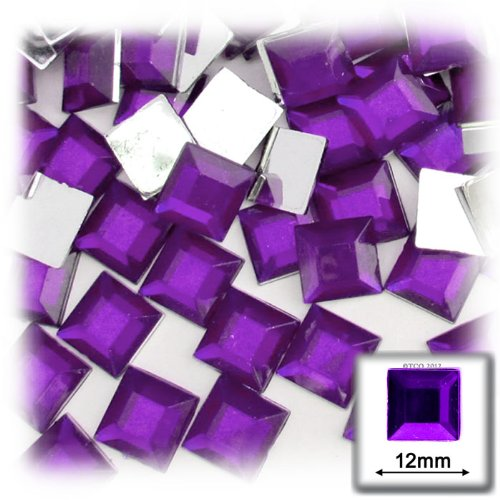 The Crafts Outlet 144-Piece Square Rhinestones, 12mm, Purple - 144 Square Rhinestones Piece
