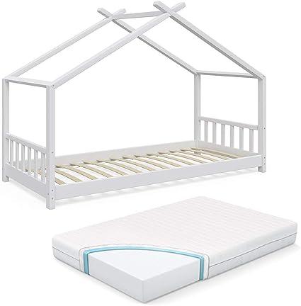 Vicco - Cama Infantil (90 x 2000 cm, Incluye somier y colchón de Espuma fría de 7 Zonas), Color Blanco