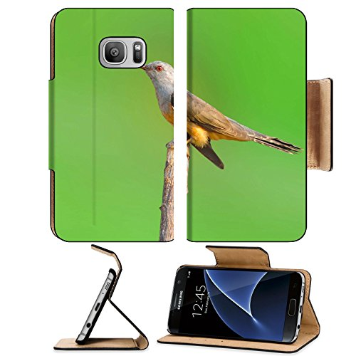Liili Premium Samsung Galaxy S7 Flip Pu Leather Wallet Case IMAGE ID: 19713256 Plaintive Cuckoo bird siiting on branch whit green - Justin Bir