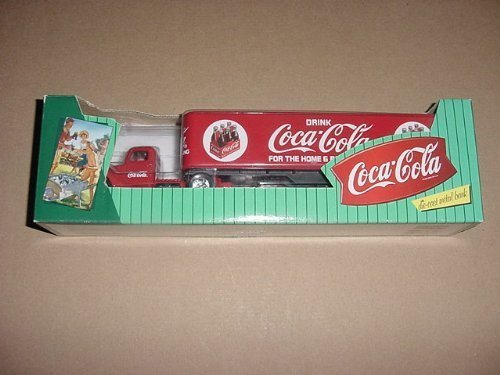 Coca Cola DIE CAST METAL BANK, RED TRUCK TRACTOR AND SEMI...