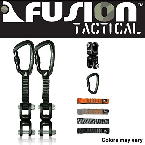Fusion Climb 2-Pack 12cm Tactical Military Rescue Quickdraw Set with Vapor III Screw Gate Black/Dual Shackle Rotation Swivel Device Carabiners Strongly Made in The USA ()