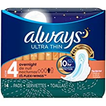 Always Ultra Thin Size 4 Overnight Feminine Pads, 14 Count - Pack of 4 (56 Total Count)