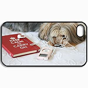 Personalized Protective Hardshell Back Hardcover For iPhone 4/4S, Dog Design In Black Case Color