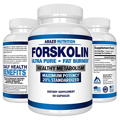 Forskolin Extract 250MG Supplement - 60 Capsules - Arazo Nutrition