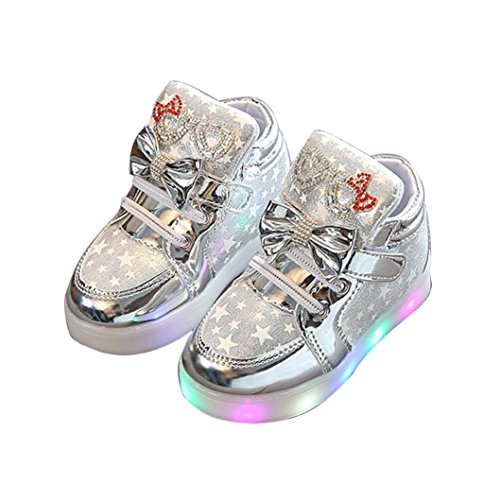 TRENDINAO Fashion Kids Child Girls Sneakers Star Luminous Colorful Light Martin (Glitter Twinkle Silver Shoes)