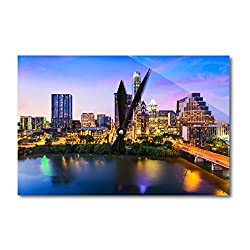 Lantern Press Austin, Texas - Skyline - Photography A-92081 (Acrylic Wall Clock)