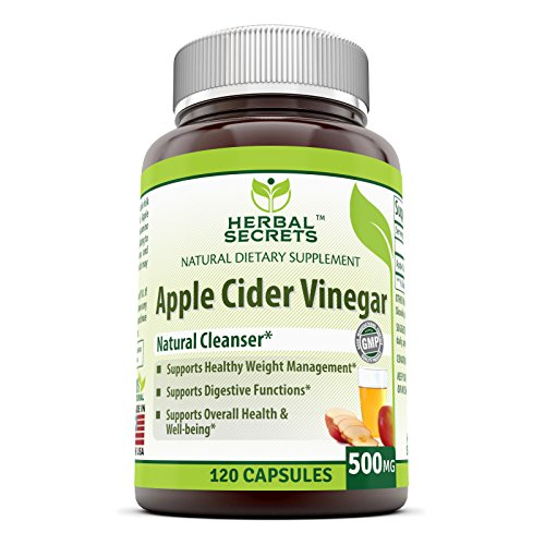 Herbal Secrets Apple Cider Vinegar 500 mg 120 Capsules *Supports Healthy Weight Management *Supports Digestive Functions *Supports Overall Health & Well-being ()