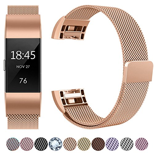 GEAK for Fitbit Charge 2 Bands, Milanese Stainless Steel Replacement Strap Bands with Magnetic Closure for Fitbit Charge 2 Large # Rose Gold