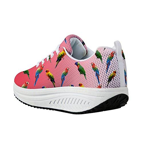 Bigcardesigns Moda Sneaker Womens Pappagallo Modello Scarpe Da Passeggio Rosa