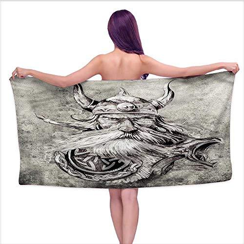 - Hariiuet Popular Bath Towels Tattoo,Sketchy Viking Warrior,W12 xL35 for Kids