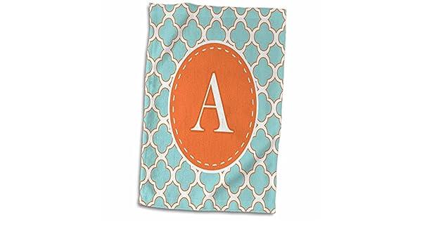 3D Rose Letter A Monogram Orange and Blue Quatrefoil Pattern TWL/_210602/_1 Towel 15 x 22 Multicolor