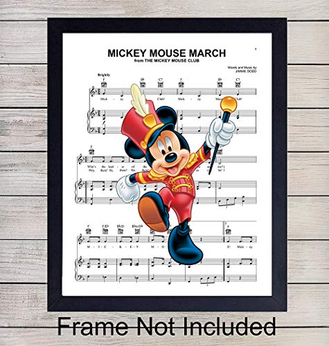 Mickey Mouse March Sheet Music Wall Art Print - Ready to Frame 8X10 Vintage Photo - Perfect Gift For Boys and Girls Rooms, Disney World Fans, Great For Home Decor ()