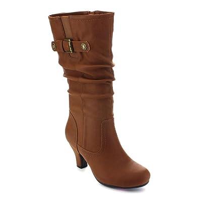 BRAND-39 Women Slouchy Elastic Under Knee High Dress Boots