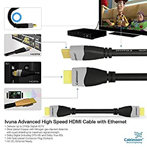 Cablesson Ivuna 9 ft / 3m High Speed HDMI Cable (HDMI Type A, HDMI 2.1/2.0b/2.0a/2.0/1.4) - 4K, 3D, UHD, ARC, Full HD, Ultra HD, 2160p, HDR - for PS4, Xbox One, Wii, Sky Q. For LCD, LED, UHD, 4k TVs - Black