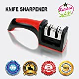 Knife Sharpener By Kitchen Life – 2 Stage Knife Blade Self Sharpening System Kit – With Slip Resistant Safety Bottom For Kitchen And Professional Use