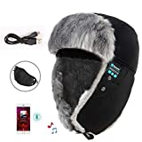 OWIKAR Bluetooth Wireless Music Trooper Hat Cap Women Men Soft Thicken Ski Snow Hat with Speaker Microphone Hands Free Stereo Headphones Headset for Winter Outdoor Sports (Black)
