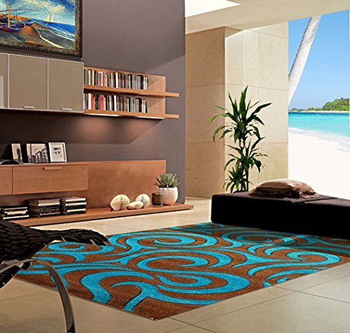 VEGAS # Modern Area Rug Contemporary Abstract Turquoise Brown Carpet King Design 1004 (7'9